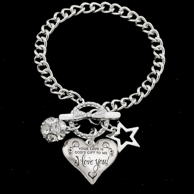 YOUR LOVE IS GOD'S GIFT - HEART CHARM BRACELET