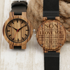 SON MOM - NEVER FORGET - ZEBRA WOOD WATCH