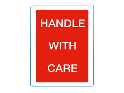Waarschuwingsetiket Handle with care - 500/rol - Etikon Nederland B.V.