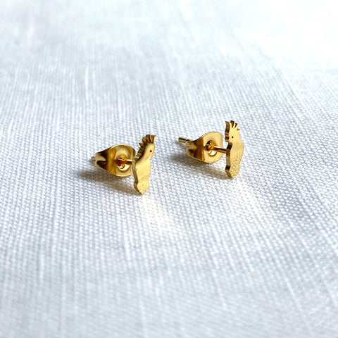 Cockatoo Earring Studs Gold