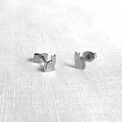 Cat Earring Studs Silver