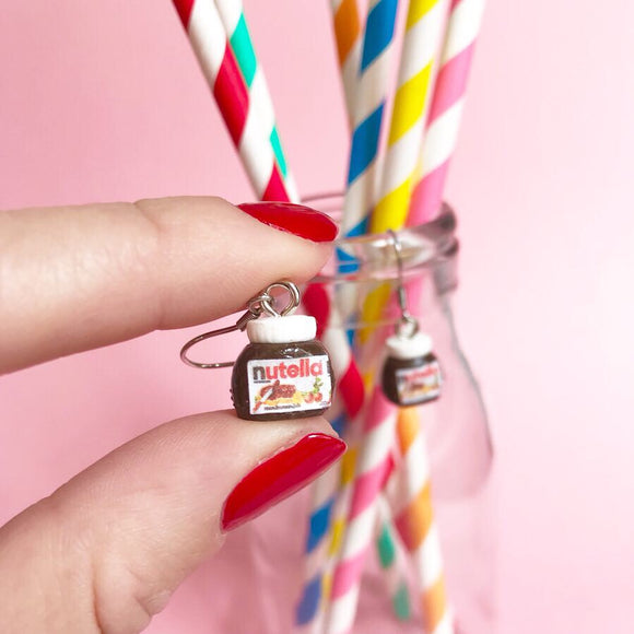 Nutella Earrings on Stainless Steel Hooks - Miniature food jewellery!
