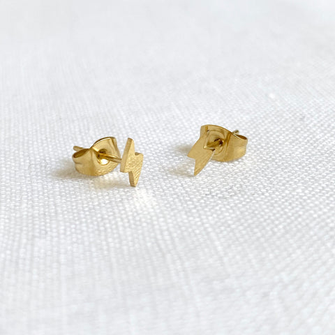 Lightning Bolt Studs Gold