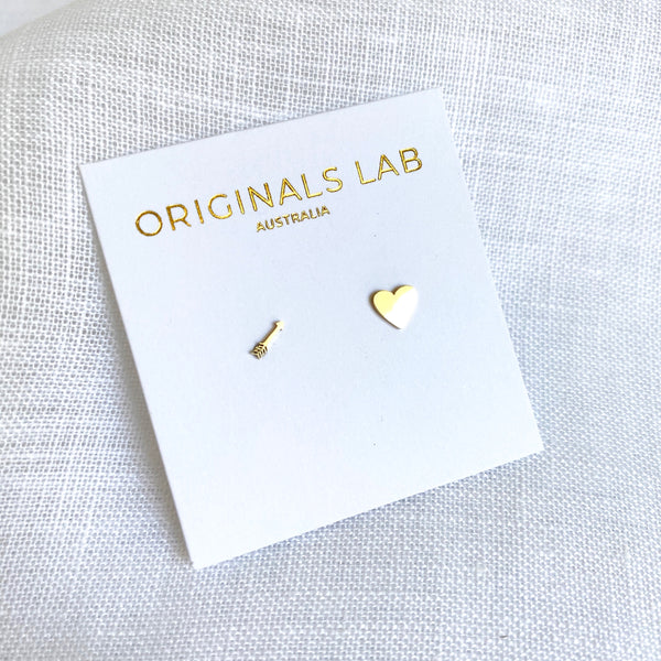 Heart and Arrow Studs Gold