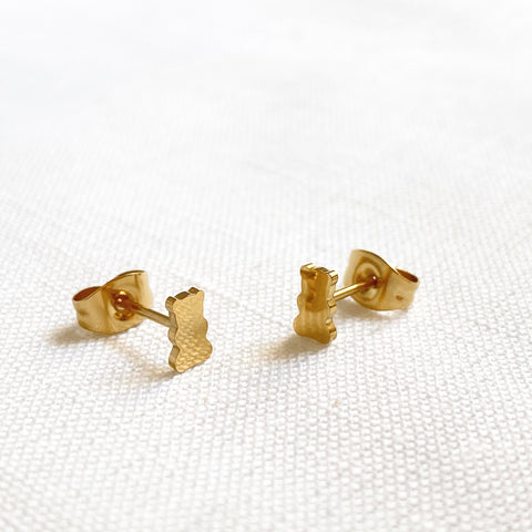 Classic Bear Earring Studs Gold