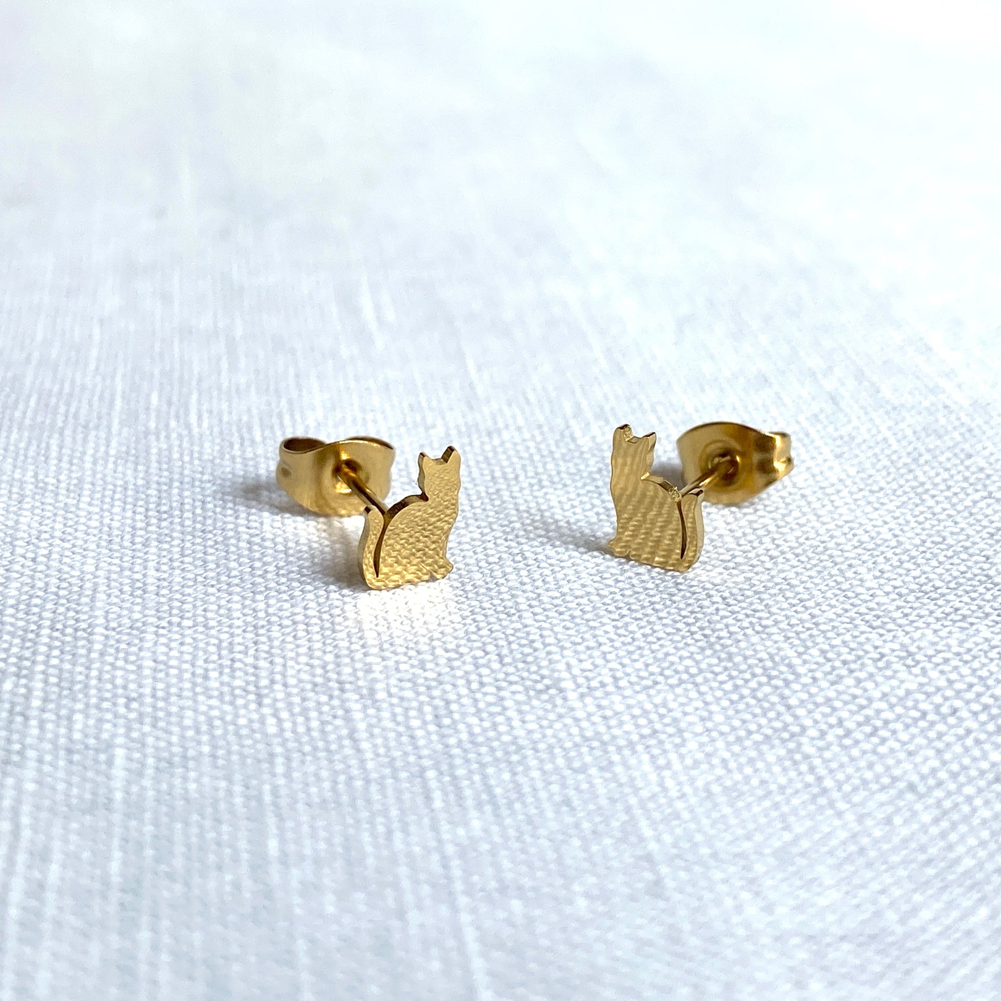 Cat Earring Studs Gold