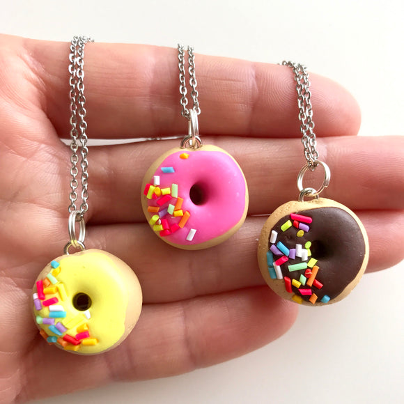 Pink, Yellow or Chocolate Donut with Sprinkles Pendant