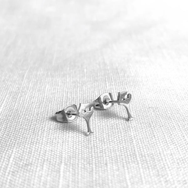 Cocktail Glass Earring Studs Silver