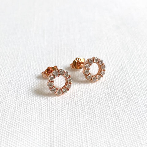 Rose Gold Halo Earrings with Crystals Set in Sterling Silver