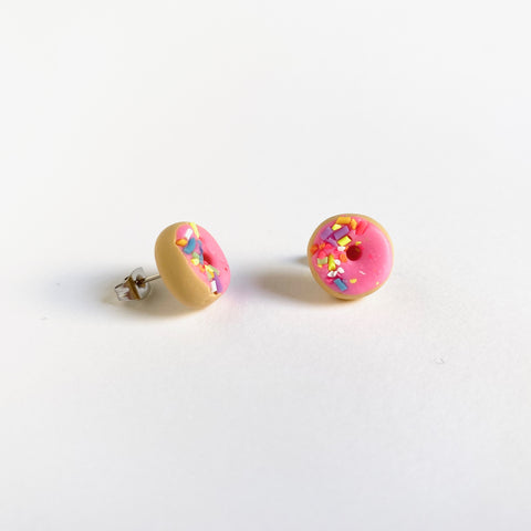 Pink Sprinkle Donut Earrings