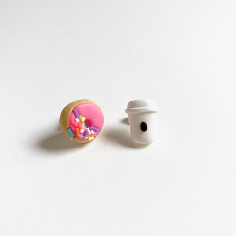 Coffee Cup and Pink Donut with Sprinkles