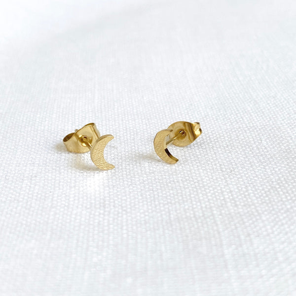 Star and Moon Studs Gold