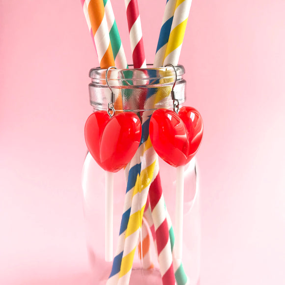 Sweet Heart Lollipop Earrings - Red, Pink, Blue and Purple!