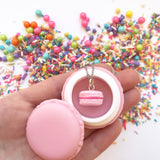 Cotton Candy Pink or Pastel Blue Macaron Pendant with Stainless Steel Necklace