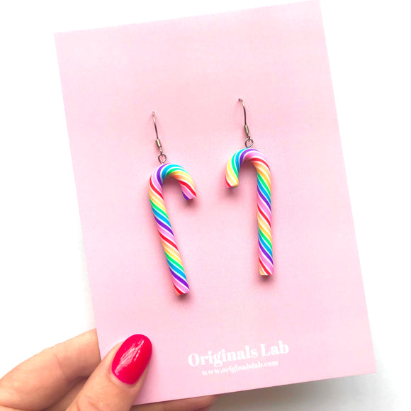 Rainbow Candy Cane Earrings - Be the life of the party!
