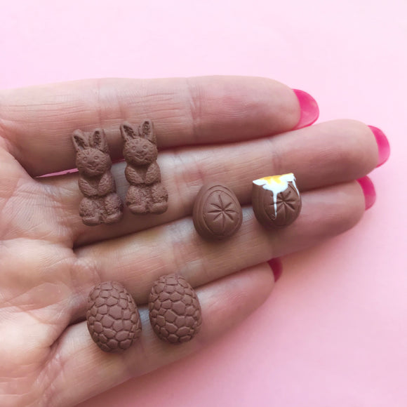 Easter Earrings - Your choice from Caramel Creme Egg, Chocolate Bunny Or Choc Eggs