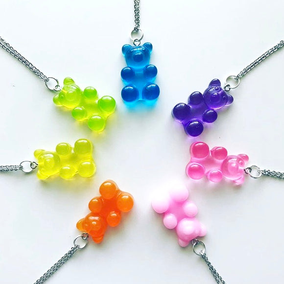 Gummy Bear Pendants fixed to a Stainless Steel Necklace - Rainbow Colours!