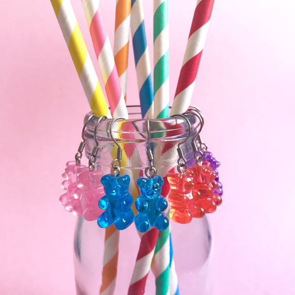 Gummy Bear Dangly Earrings with Stainless Steel Hooks