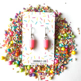 Pencil Dangly Earrings with Stainless Steel Hooks - Rainbow Colours