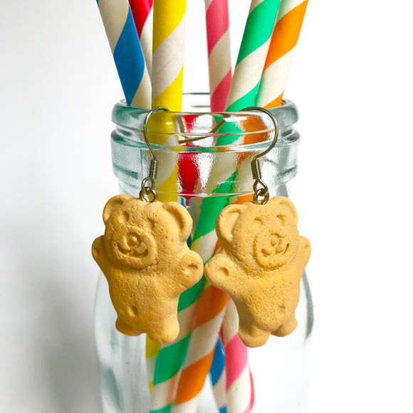 Tiny Teddy Biscuit Earrings - Classic Aussie treat you can wear!