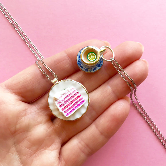 Pink Layered Cake or Tea Cup Pendant and Necklace