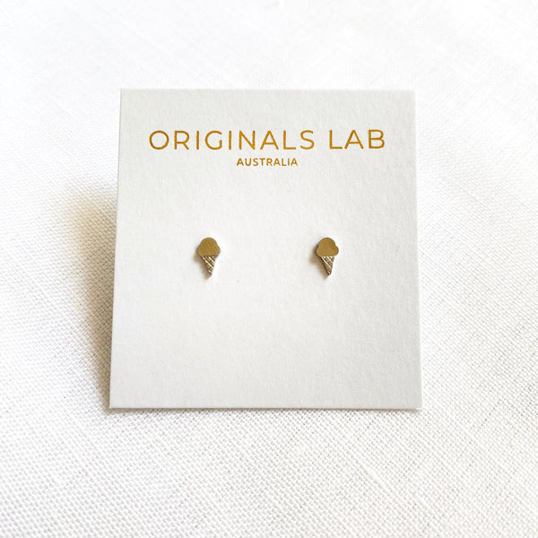Ice Cream Earring Studs Silver