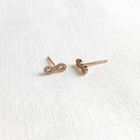 Rose Gold Infinity Earrings with Crystals Set in Sterling Silver