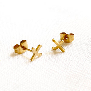 X Earring Studs Gold