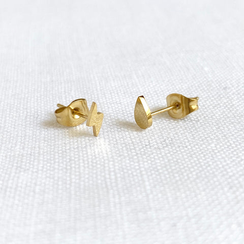 Lightning Bolt and Rain Drop Studs Gold
