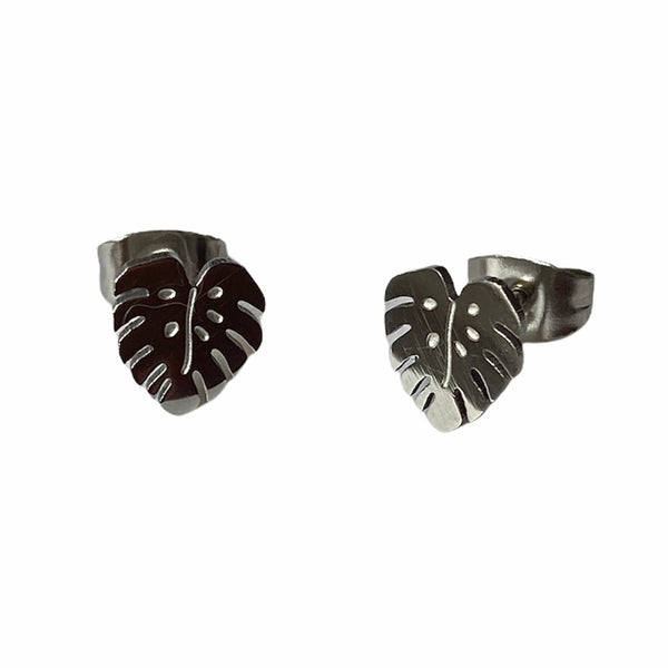 Monstera Leaf Studs Silver