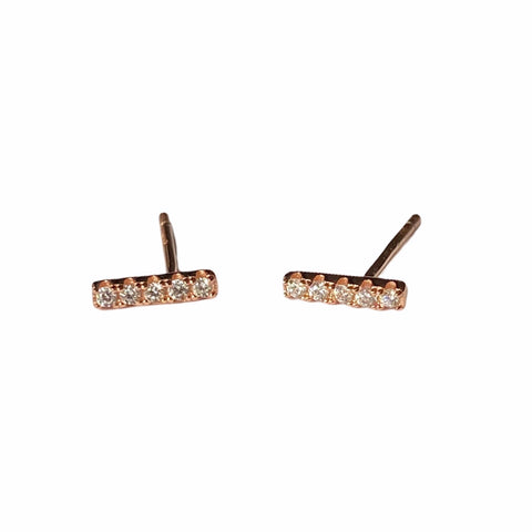 Rose Gold Bar Earrings with Crystals Set in Sterling Silver