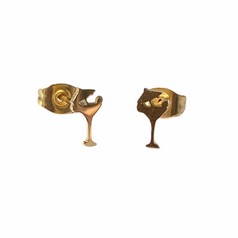 Cocktail Glass Earrings Gold