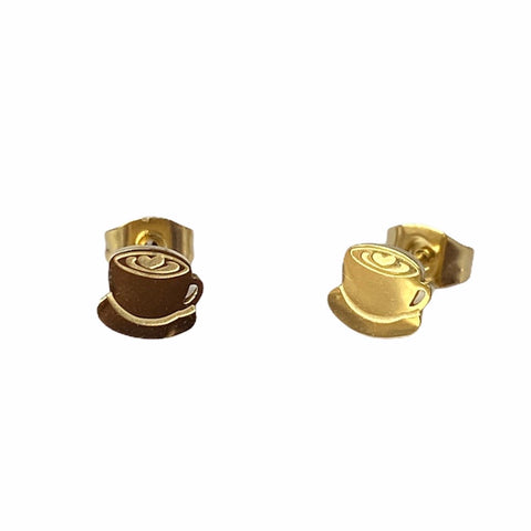 Coffee Cup Studs Gold