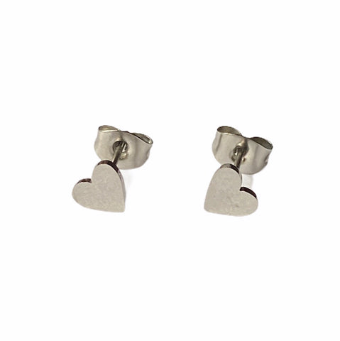Be My Valentine Heart Studs Silver