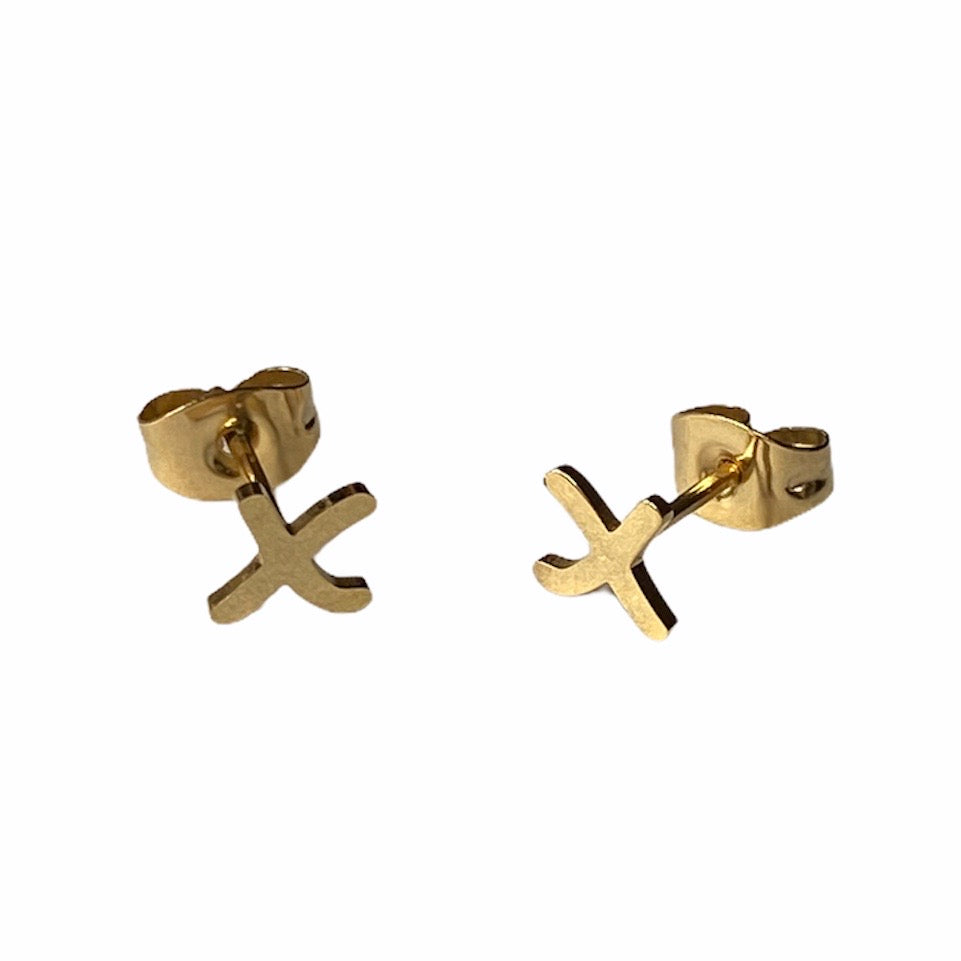 X Kisses Earring Studs Gold