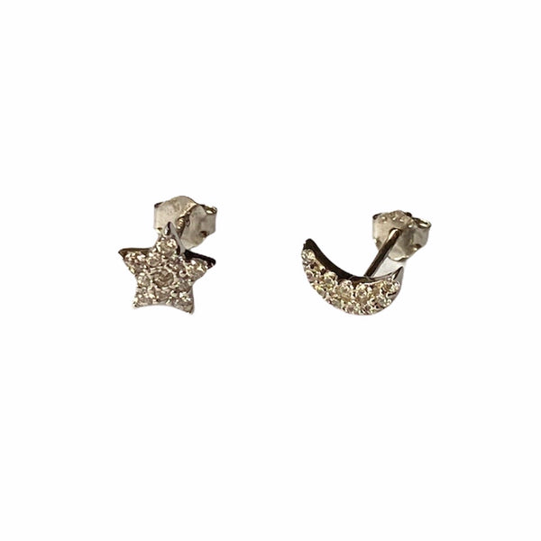Crystal Stud Moon and Star Sterling Silver Earrings