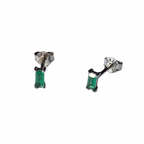 Sterling Silver Timeless Emerald Green Crystal Earrings