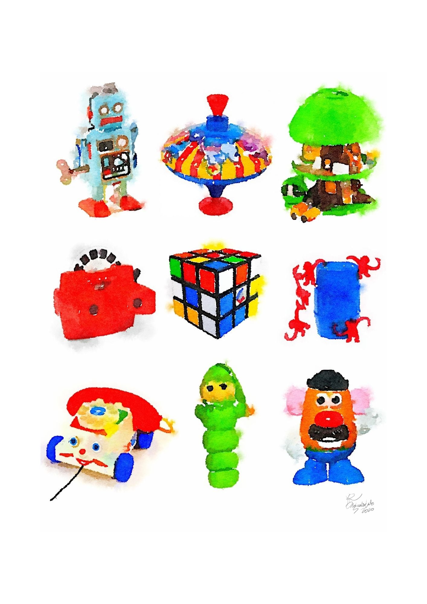 Retro Toys Digital Print