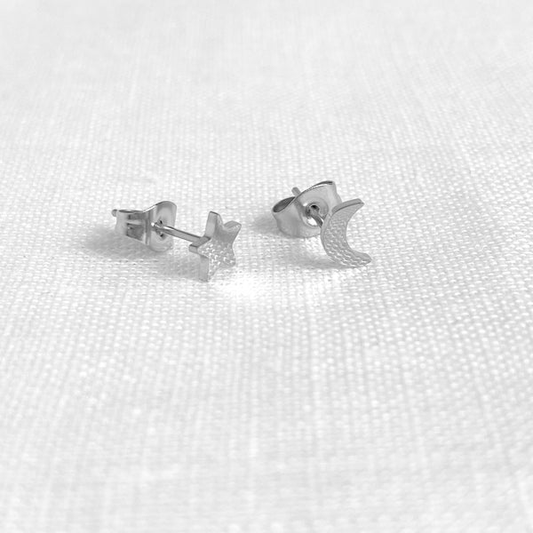 Star and Moon Studs Silver