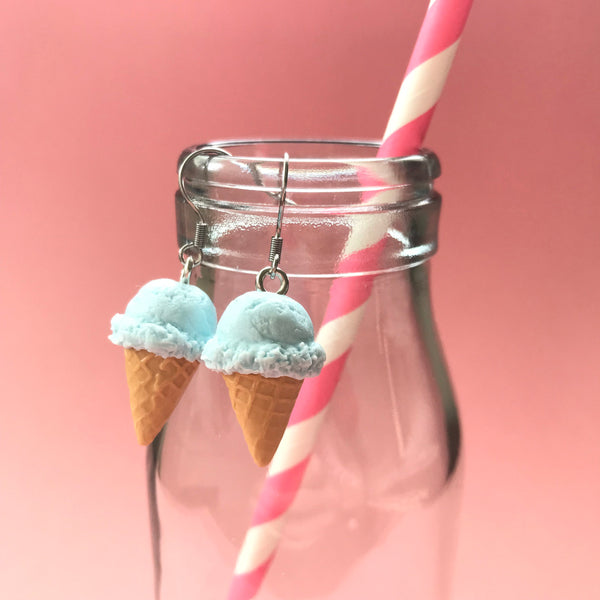 Cotton Candy Pink or Tiffany Blue Ice Cream Cone Earrings