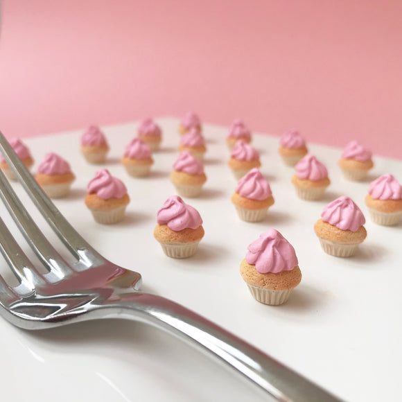 Cupcake Earrings with frosting - Your choice from Red Velvet, Strawberry and Rainbow Swirl