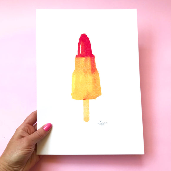 Rocket Icy Lolly Print.  A4 Size Designed and Printed in Australia