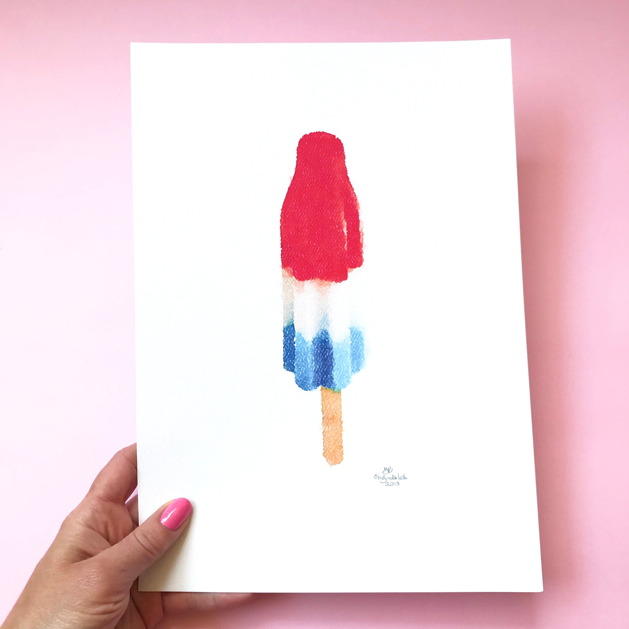 Fire Cracker Popsicle Digital Print. Designed in Australia