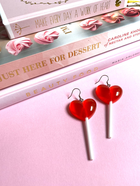 Red Sweet Heart Lollipop Earrings