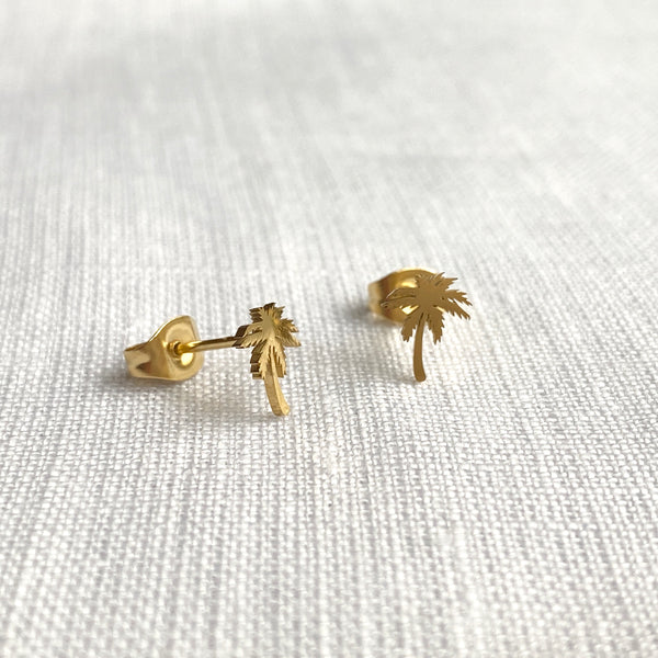 Palm Tree Earrings Gold