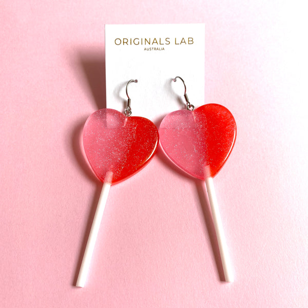 Two Tone Pink and Red Sweet Heart Lollipop Statement Earrings