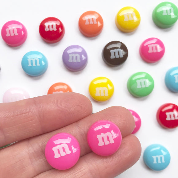 M&M Stud Earrings with Surgical Stainless Steel Posts - Rainbow Colours!
