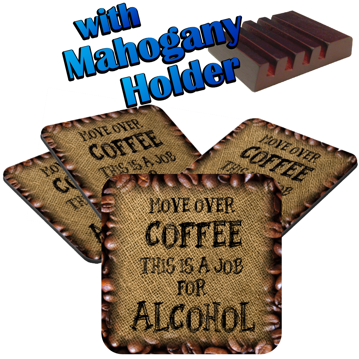 Funny Coffee Alcohol Coaster Set Gift Drink Coasters Coffee Quote Jin Jin Junction