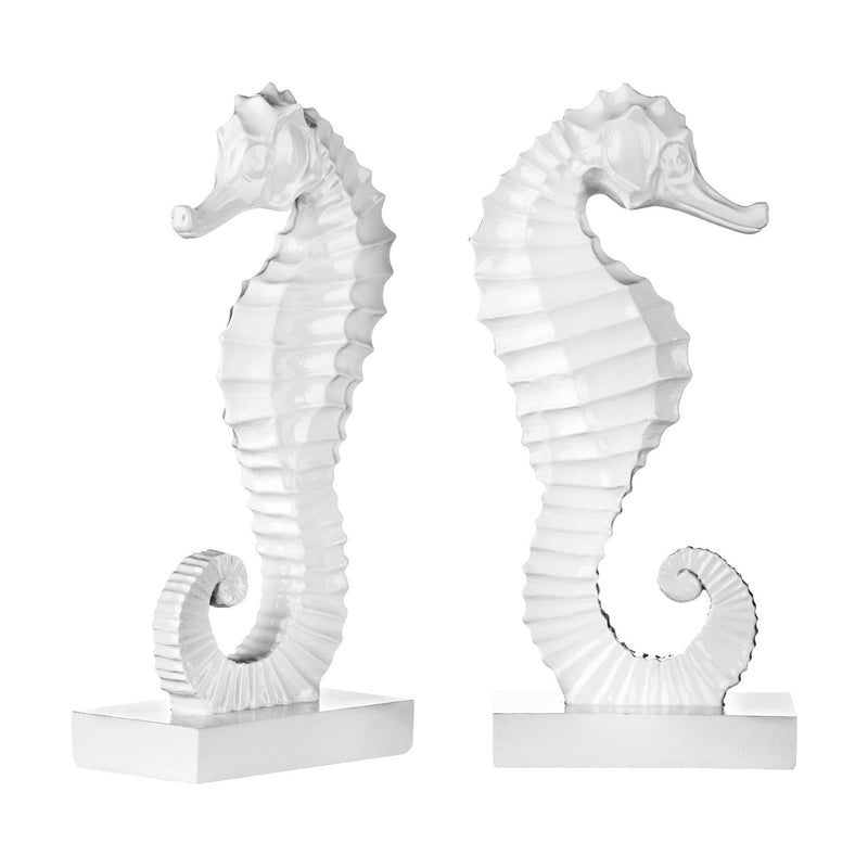 Seahorse Bookends, White