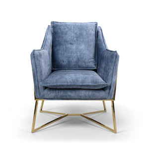 Ophelia Mid Century Armchair, Blue Suede Effect with Gold Legs
